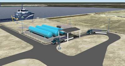 Artist's Depiction: the Harvey Gulf LNG Fuleing facility in Port Fourchon, LA.