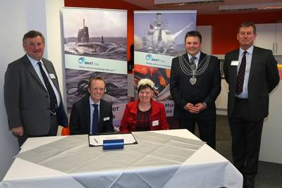 (left to right): Oliver Colvile, MP for Plymouth, Sutton & Devonport; Mike Prince, Managing Director of BMT Isis; Councillor Pauline Murphy; Nigel Churchill, Deputy Lord Mayor of Plymouth; Major General David Hook CBE, Royal Marines.