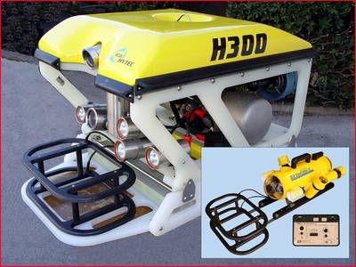 ECA Robotics ROV with JW Fishers RMD-1 remote metal detector on front, Inset photo – JW Fishers SeaOtter-2 ROV with RMD-1
