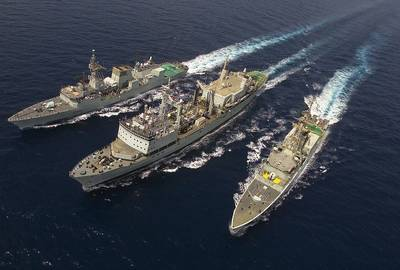HMCS Protecteur (centre): Earlier photo courtesy of Canadian Government