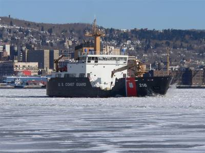 - Breaking Ice in the Duluth Harbor - Photo courtesy of United States Coast Guard
