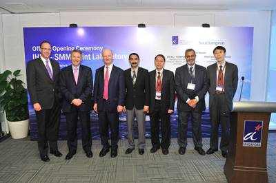 L to R - H.E. Antony Phillipson, British High Commission; Prof. Don Nutbeam, Vice-Chancellor, University of Southampton; The Rt Hon David Willetts MP, Minister for Universities and Science of the United Kingdom; Prof. Raj. Thampuran, Managing Director, A*STAR; Prof. Alfred Huan, Executive Director of Institute of High Performance Computing, A*STAR; Prof. Ajit Shenoi, Director, Southampton Marine and Maritime Institute; Dr Lou Jing, Institute of High Performanc