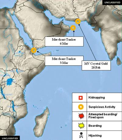 Piracy Horn of Africa incident map courtesy of OPINTEL