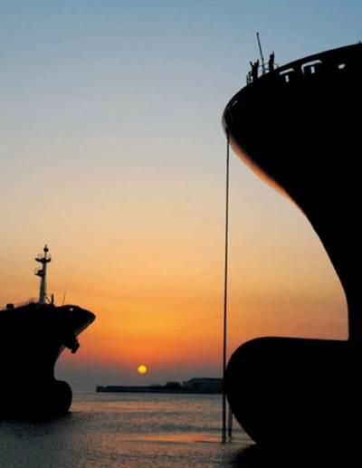 Container ships, sunrise: Photo courtesy of HHI