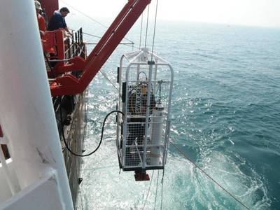 Sterling Global Operations diver preparing to descend to wreck of VLCC Amuriyah to check for unexploded ordnance. (Photo: Sterling Global Operations)