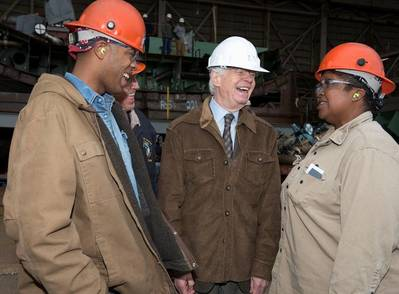 Senator Cochran's shipyard visit: Photo courtesy of HII