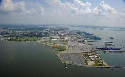 An aerial view of Norfolk Naval Station, the largest naval base in the world. (U.S. Navy photo by Mass Communication Specialist 1st Class Christopher B. Stoltz/Released)