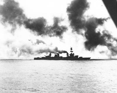 USS Salt Lake City (CA-25) web during the Battle of the Komandorski Islands (Official U.S. Navy Photograph, now in the collections of the National Archives.)