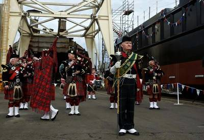 Scots Pipers at Launch: Image credit Marcon
