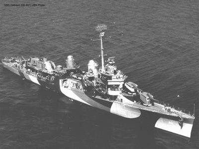 USS Bush (DD 529), USS Colhoun (DD 801) and other vessels sank after Japanese kamikazes attacked them off the coast of Okinawa. Both the Bush and Colhoun shot down several Japanese planes during the attack. (U.S. Navy photo)