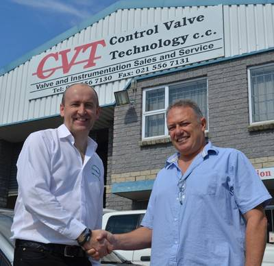 EnerMech chief executive officer Doug Duguid, left, with CVT managing director Stephen David in Cape Town