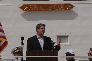 US Senator David Vitter (R-La.) speaking to Bollinger employees and guest during Bollinger's celebration of success on the completion of the 75th 87 ft Marine Protector-class Coastal Patrol Boat.