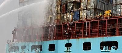 Eugen Maersk firefighting: Image courtesy of DMAIB