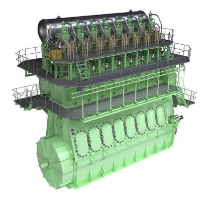 Graphic rendering of a two-stroke, dual-fuel MAN B&W 8L70ME-GI engine. The ME-GI is capable of running on both HFO and gas – predominantly natural gas but also LPG and methane. MAN Diesel & Turbo reports a strong market reception to the engine.