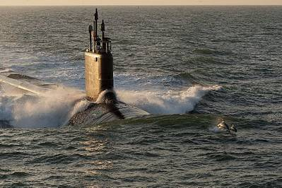The Virginia-class attack submarine Pre-Commissioning Unit (PCU) Minnesota (SSN 783) is shown during sea trials.  (U.S. Navy photo courtesy of Huntington Ingalls Industries/Released)