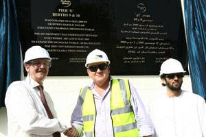 (From Left to Right) Geoff Taylor, Executive Chairman, Drydocks World, Grahame McCaig, General Manager, Dutco Balfour Beatty LLC and Hamed Mohammed bin Lahej, Executive Vice-Chairman, Drydocks World, inaugurate the new FPSO Quay.