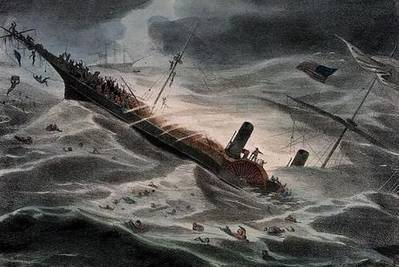 J. Childs' painting of SS Central America sinking in 1857. (National Maritime Museum, London)