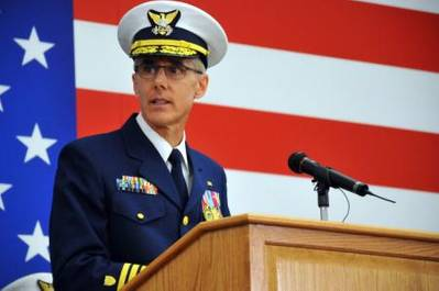 Vice Adm. Peter Neffenger speaks during the vice commandant change of watch ceremony at Coast Guard Headquarters in Washington, D.C., Tuesday, May 20, 2014. Neffenger became the 29th vice commandant of the Coast Guard during the event. (U.S. Coast Guard photo Petty Officer 2nd Class Patrick Kelley)