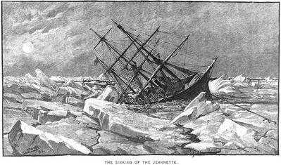 """The Sinking of the Jeannette,"" Engraving by George T. Andrew after a design by M.J. Burns. (U.S. Naval Historical Center Photograph.)"