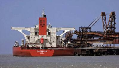 5-Vale Beijing VLOC being loaded in Brazil. (Photo - Vale do Rio Doce)