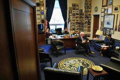 Rep. Coble in his official office: Photo USCG