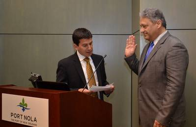 Laney J. Chouest is sworn in to the Port of New Orleans Board of Commissioners (Photo courtesy of the Port of New Orleans)