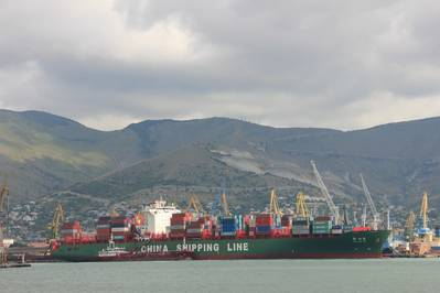 A recent arrival at Novorossiysk.  Part of the China Shipping Line new deep-sea service from the Far East to Russia (Credit GCS)