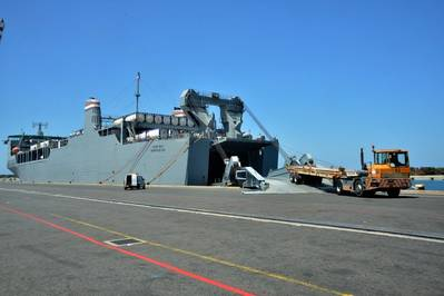Chemical container loading. U.S. Navy photo by Mass Communication Specialist Seaman Desmond Parks