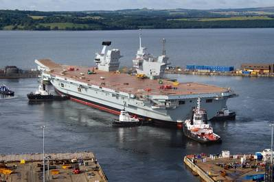 HMS Queen Elizabeth floating out of her dock for the first time (Photo: QEClassCarriers)