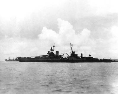 USS Indianapolis (CA-35) preparing to leave Tinian after delivering atomic bomb components, circa July 26, 1945. She was sunk on July 30 while en route to the Philippines. (Donation of Major Harley G. Toomey, Jr., USAF(Retired), 1971, who took this photograph. U.S. Naval Historical Center Photograph)