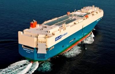 Hybrid car carrier Emerald Ace under way