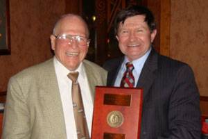 (left to right) Dr. Walter M Maclean, recipient of the 1968 Lauren S. McCready award, and Ed Waryas, Lloyd's Register North America, Inc. (Photo courtesy Lloyd's Register North America, Inc.)