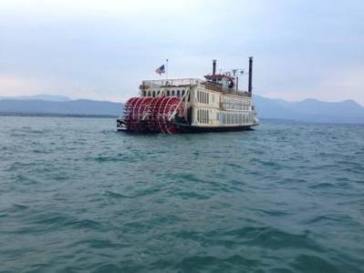 A passenger vessel, Tahoe Queen, ran aground with reportedly 296 passengers aboard in South Lake Tahoe, Calif., Monday, Aug. 4, 2014. Members from Coast Guard Sector San Francisco continued the investigation and oversight of salvage efforts for Tahoe Queen, Tuesday, Aug. 5, 2014. Coast Guard photo by Coast Guard Sector San Francisco.