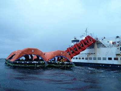 SurvitecZodiac MES escape slide and rafts during heavy weather sea trials (Photo courtesy of Survitec)