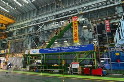 The MAN B&W 8L70ME-GI engine pictured at Doosan's Changwon works in Korea (courtesy Doosan Engine)