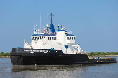 SOLAS Certified, ABS A1, 10,000 BHP, Signet Warhorse III en route to Newport Naval Shipyard to tow USS Saratoga to Brownsville, Texas.