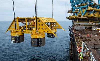 Installation of subsea template at the Åsgard field in the Norwegian Sea. (Photo: Øyvind Hagen)