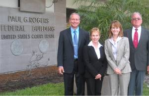 (L to R) Marine Exhaust Systems VP Darrin Woods, president Angela Woods, VP Sheila Prieschl and inventor and chairman Woodrow Woods (Photo courtesy Martin Flory Group)