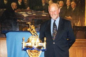 Incat Robert Clifford with the Hales Trophy at a ceremony in London in 1998 following the win by the ship CatLink V. (Photo courtesy Incat)