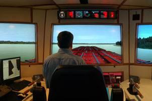 The full-mission, full-bridge towboat wheelhouse simulator at Kirby's training center (Photo courtesy Kirby Corp.)