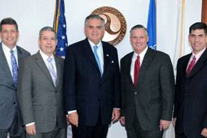 From left to right: U.S. DOT Deputy Secretary John Porcari, MARAD Administrator David Matsuda, Secretary Ray LaHood, Photo courtesy MARAD, Superintendent of the U.S. Merchant Marine Academy Admiral Philip H. Greene, Jr., Deputy MARAD Administrator Orlando Gotay. (Photo courtesy MARAD)