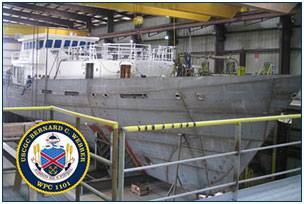 The lead Sentinel-class FRC, the Bernard C. Webber, under construction at Bollinger Shipyards. U.S.Coast Guard Photo