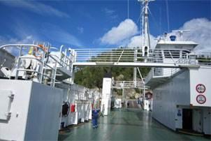 Car deck of the Norwegian pendulum ferry M/F Geisnes operating for the Namsos Trafikselskab. Photo courtesy MAN Diesel & Turbo SE