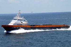 Offshore supply vessel Michael G. McCall, Gulf Craft's most recent delivery, could not get work in the Gulf of Mexico. Seacor chartered it for operations off the west coast of Africa. The 190-ft by 34-ft vessel was delivered in July 2010. (Photo courtesy Gulf Craft, LLC)