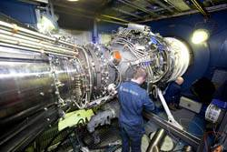 The Rolls-Royce MT30 Marine gas turbine on the test bed (Photo Credit: Rolls-Royce).