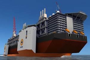 3D model of the 110,000ton semi-submersible heavy transportation vessel (SSHTV). Image courtesy Hyundai Heavy Industries