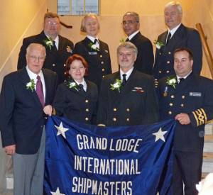 New officers (both elected and appointed):  Front, L to R:  (Elected Officers) Grand Secretary-Treasurer George Skuggen, Grand 2nd Vice President Rebecca Hancock, Grand President Tom McMullen, Grand 1st Vice President Seann O'Donoughue;  Back, L to R: (Appointed officers) Grand Marshal Joe Walters, Grand Chaplain Camilla Ross, Grand Warden Mark Stevenson, Grand Sentinel Mike Pratt. Photo courtesy the ISMA