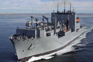 Military Sealift Command dry cargo/ammunition ship USNS Washington Chambers exits San Diego Bay to complete its sea trials before delivery to MSC Feb. 23. (General Dynamics NASSCO photo)