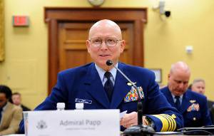 Coast Guard Commandant Adm. Bob Papp testifies before the House of Representatives Appropriations Subcommittee on Homeland Security concerning the Coast Guard's proposed fiscal year 2012 budget at the Rayburn House Office Building in Washington, D.C., Mar. 10, 2011. The Coast Guard's proposal is part of President Obama's federal-government-wide budget submitted to Congress Feb. 14, 2010. U.S. Coast Guard photo by Petty Officer 2nd Class Patrick Kelley.