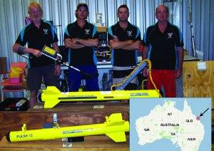 The team of marine specialists from Realf's Diving and Salvage with Fishers sonars and metal detectors. Photo courtesy  JW Fishers.